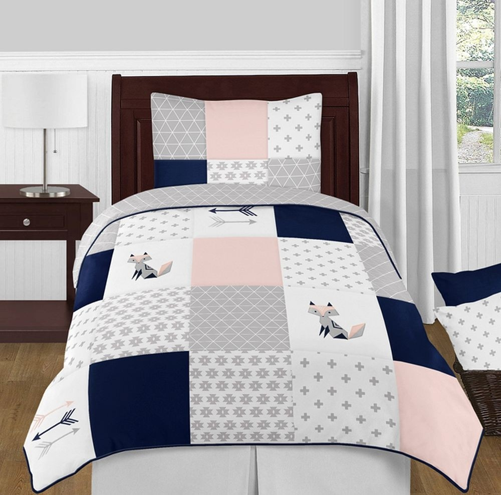 Fox Patch Pink  Navy Bedding Set  4 Piece Twin Size By