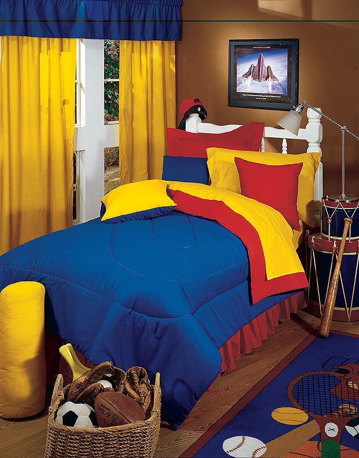 Primary Colors Comforter  YellowBlue  Twin Size  Kids