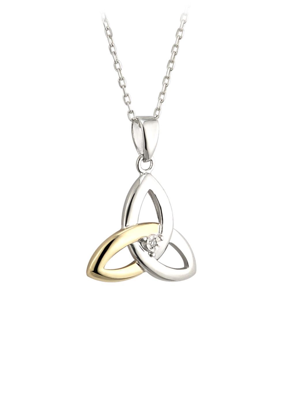 10K Gold & Sterling Silver Diamond Trinity Knot Pendant
