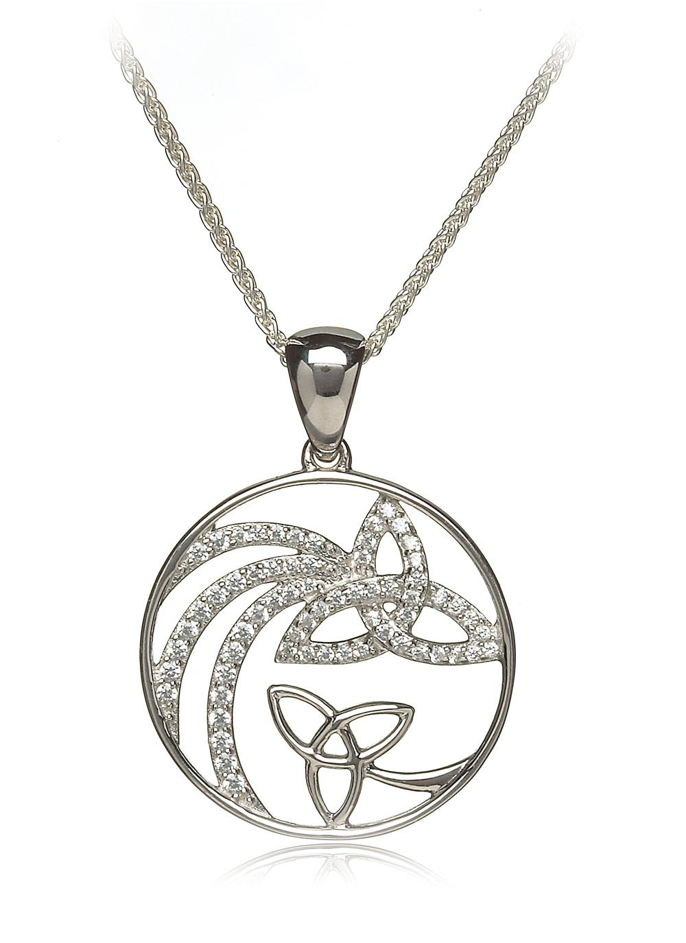 Sterling Silver Shooting Star Pendant With Trinity And