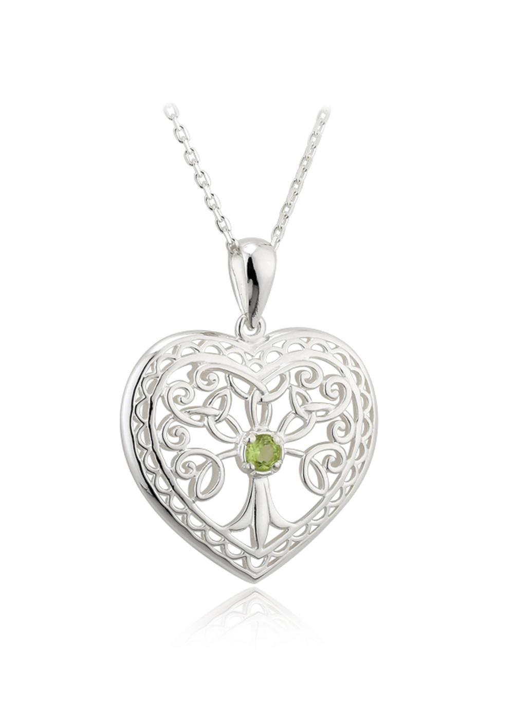 Sterling Silver Crystal Heart Tree of Life Pendant