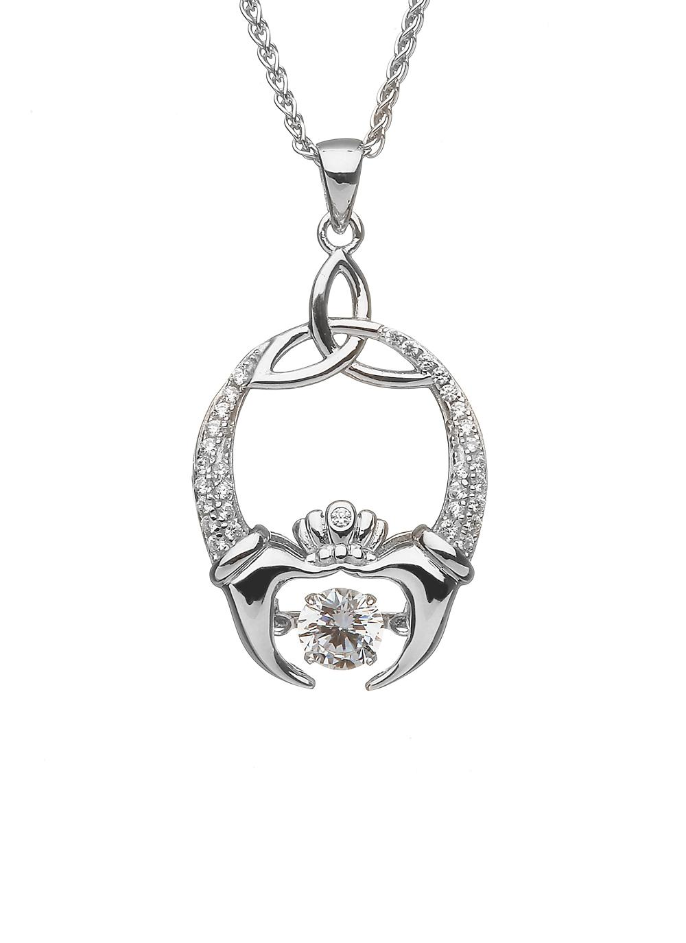 Sterling Sterling Claddagh & Trinity Dancing Stone Pendant