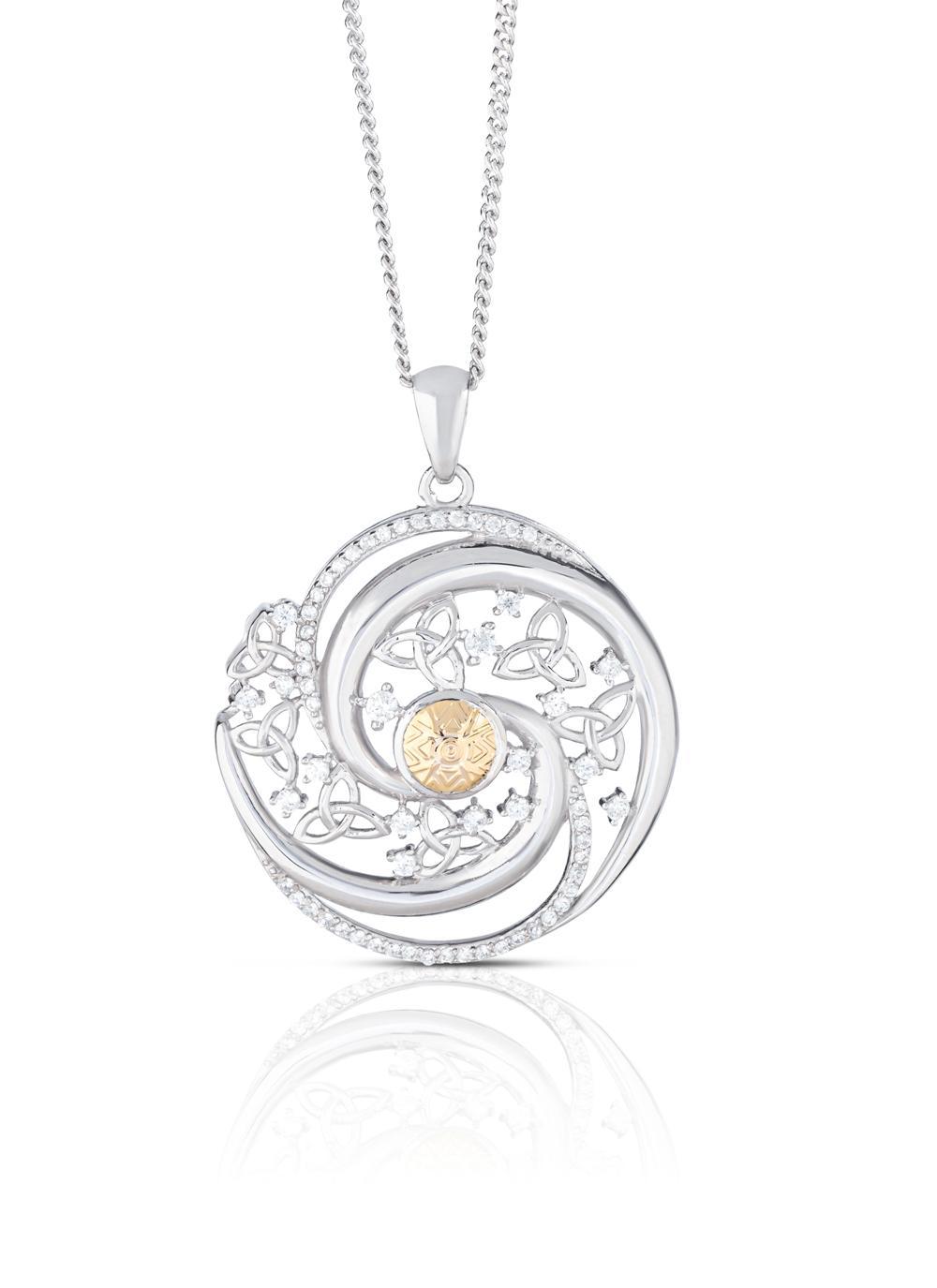 Sterling Silver & 18K Gold Bead Solstice Swirl Pendant
