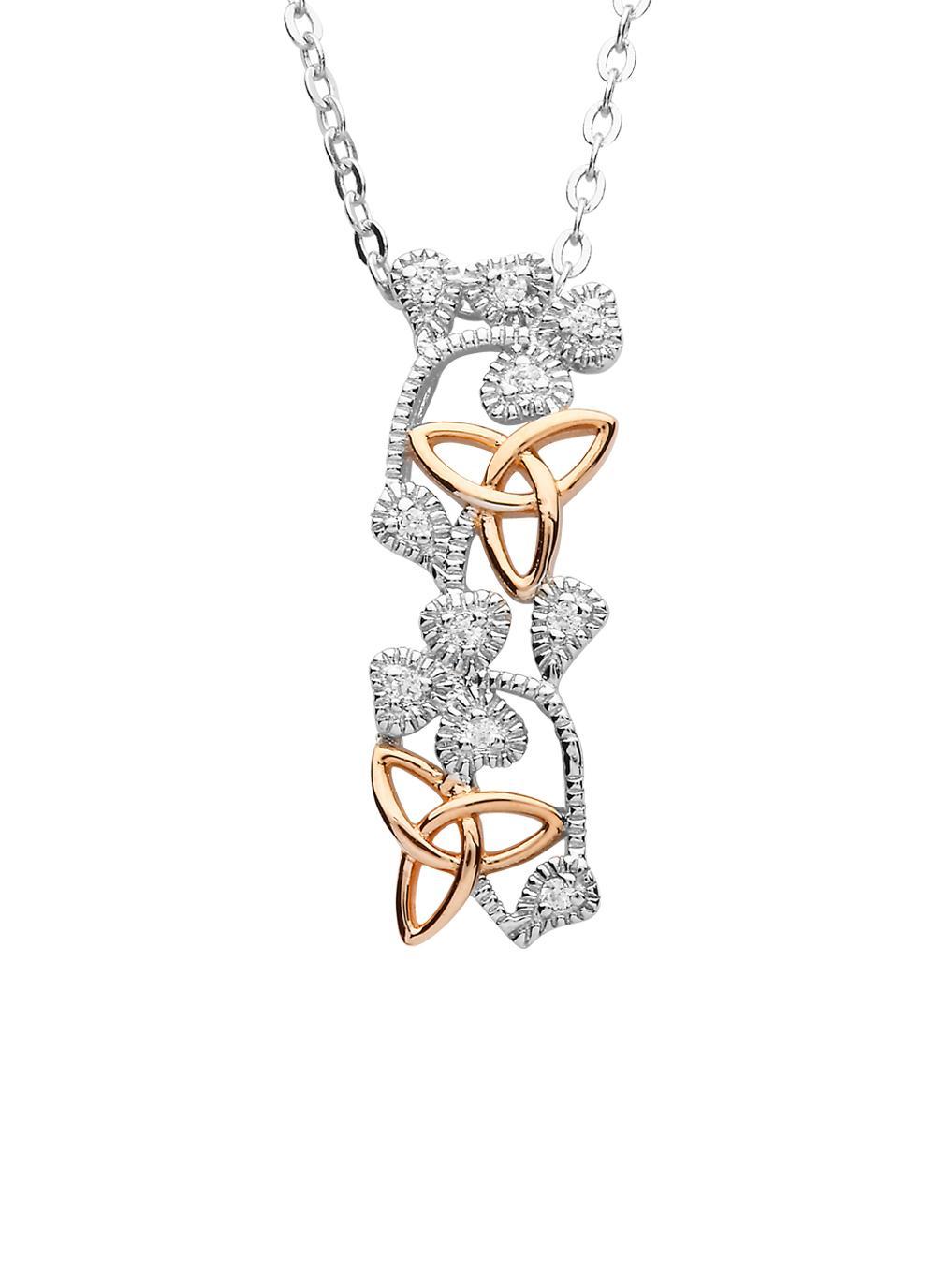Sterling Silver & Irish Rose Gold Trinity Shamrock Pendant