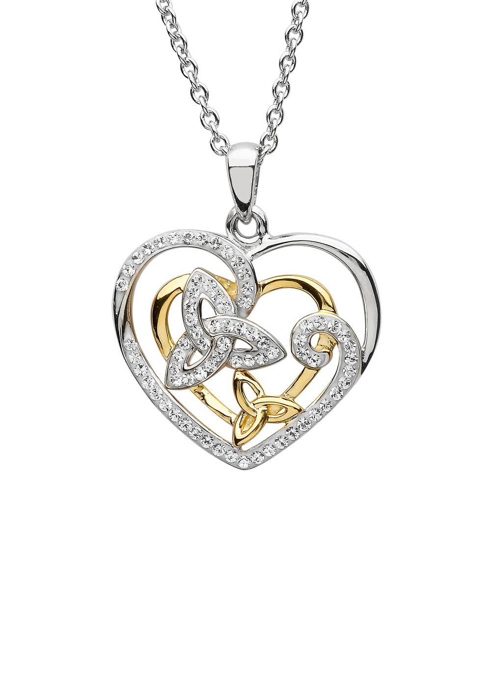 Sterling Silver Trinity Heart Pendant With Swarovski