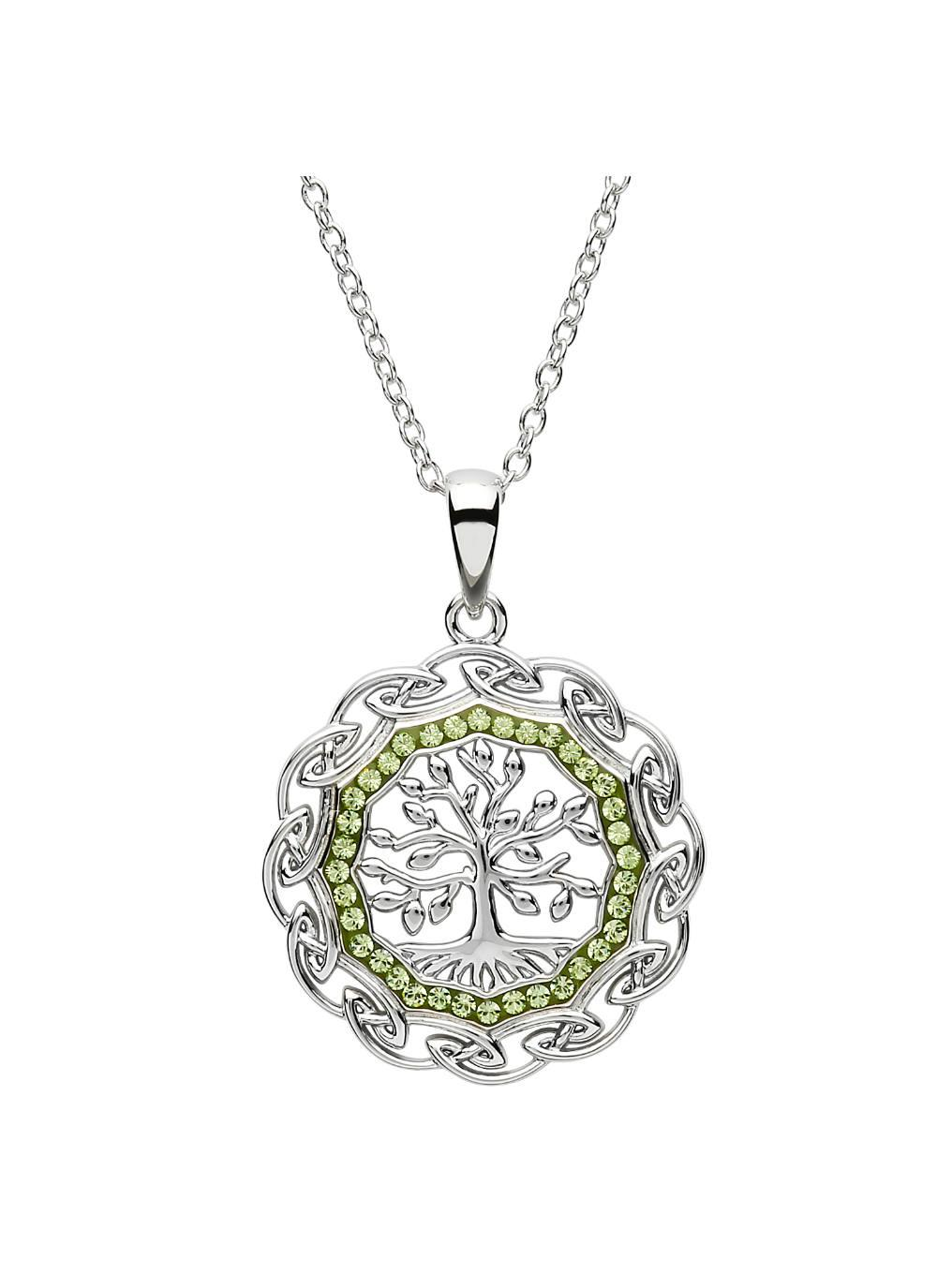 Celtic Silver Tree Of Life Pendant Embellished With