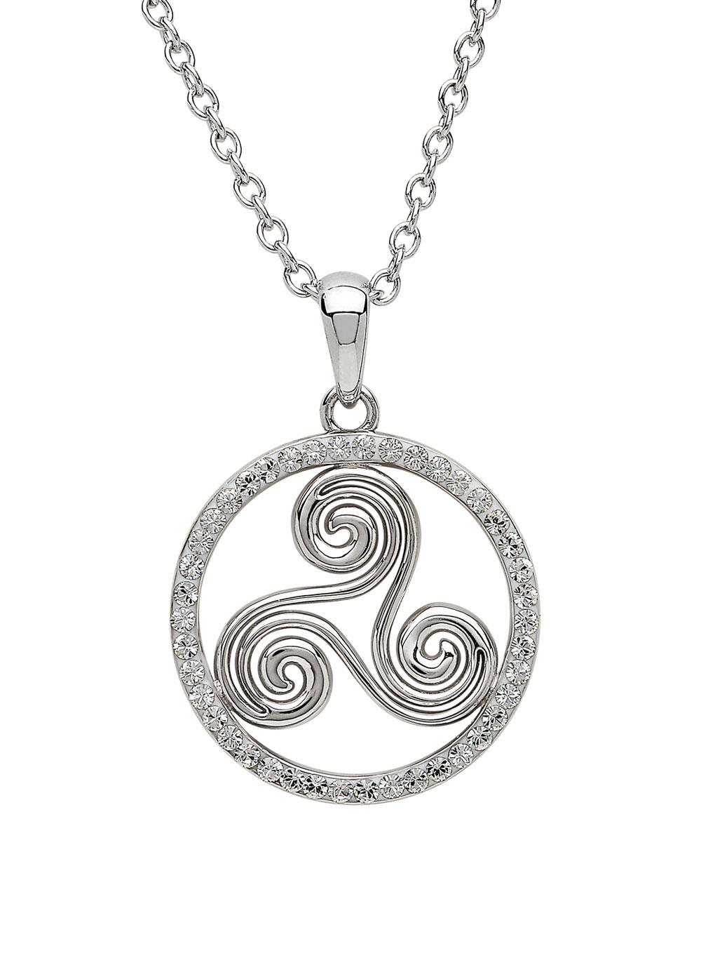 Silver Triskele Pendant Surrounded With Swarovski Crystals