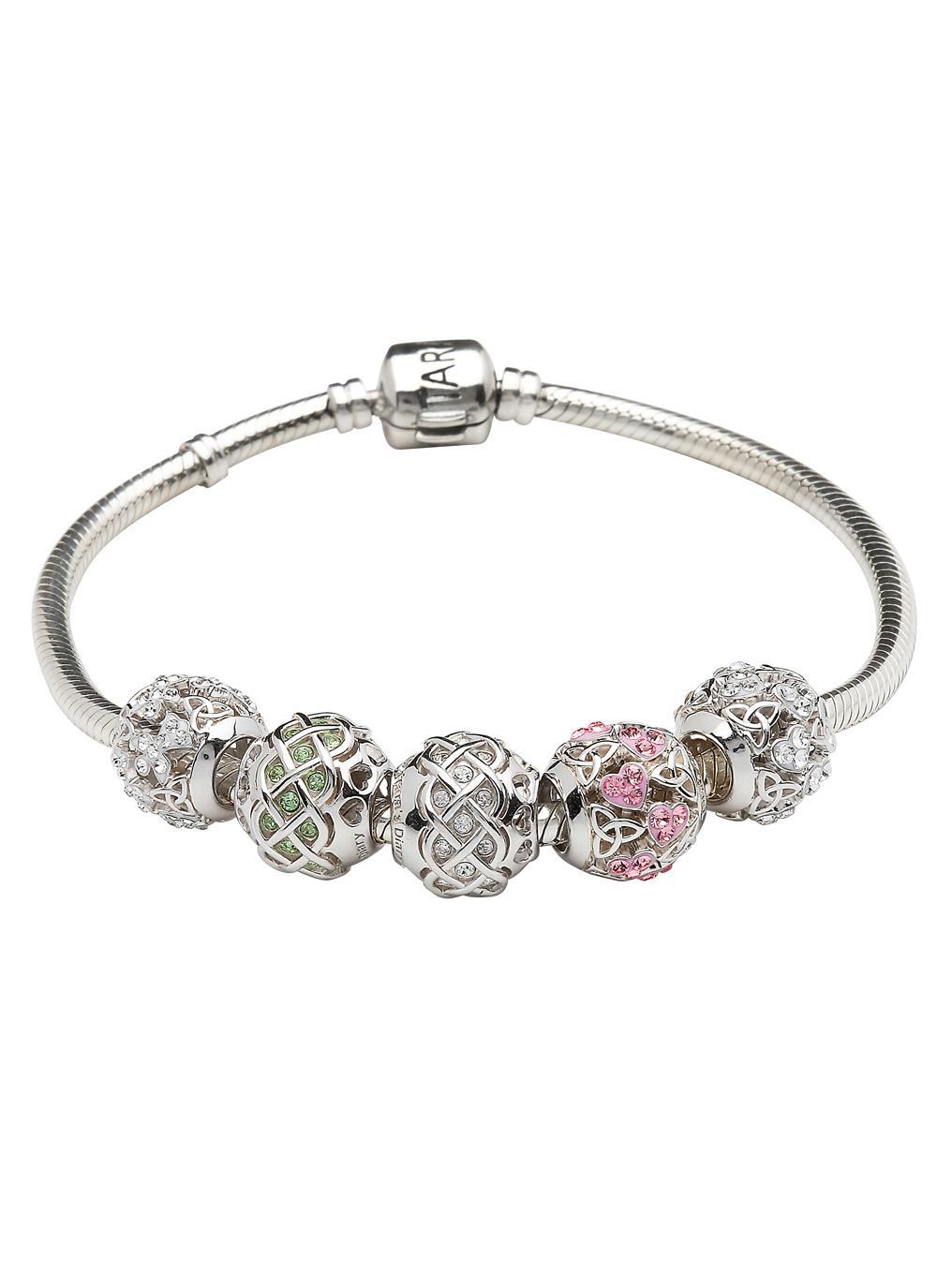 Trinity & Heart Pink Bead Embellished With Swarovski