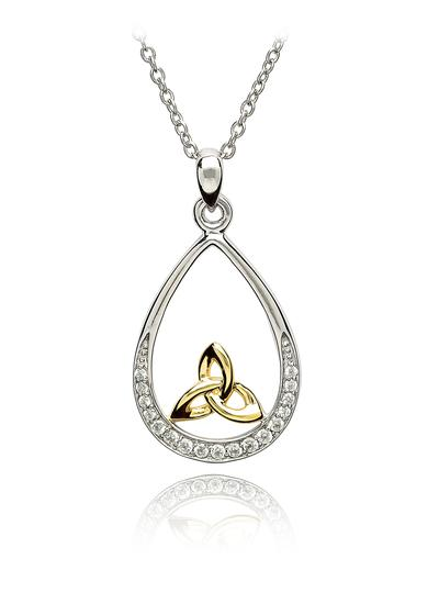 Silver Trinity Knot Stone Set Pendand