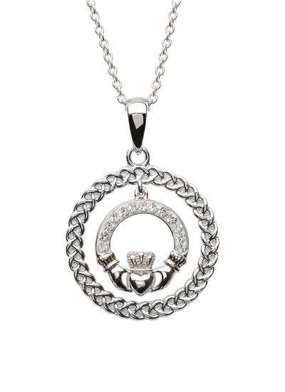 Silver Claddagh Pendant Encrusted With Swarovski Crystals