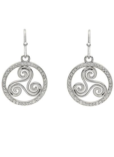 Silver Triskele Earrings Surrounded With Swarovski