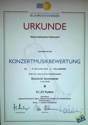 Urkunde Konzertmusikbewertung 2016