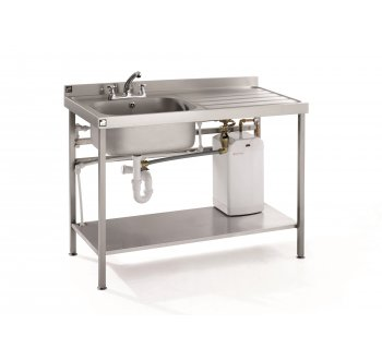 stainless steel prep table with sink instant hot water unit