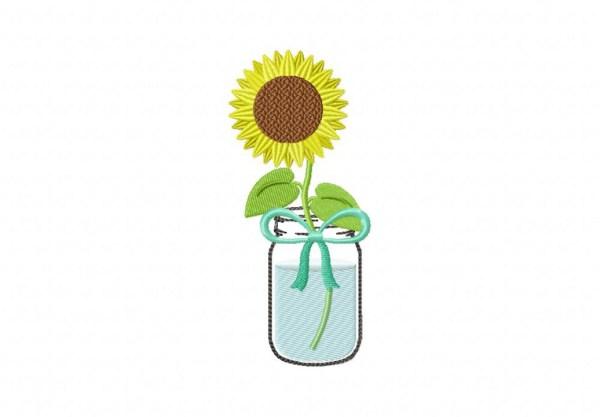 mason jar sunflower machine embroidery