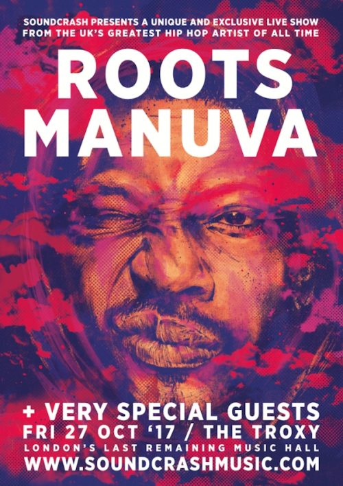 roots manuva, flyer, troxy, london, gig