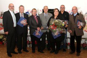 40 Jahre Mitglied: Norbert Aretz, Franz-Josef Thomas, Theo Grewenig, Steffi Meller-Brückmann, Hans-Werner Bettin und Severin Schmitz