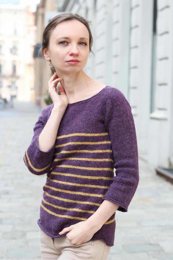 """Isabel Kraemers """"westbourne"""" Pullover, gestrickt in Rowans """"Felted Tweed"""" Garn."""