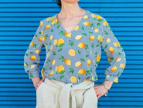 Burda Schnittmuster Bluse mit Streifen und Zitronen