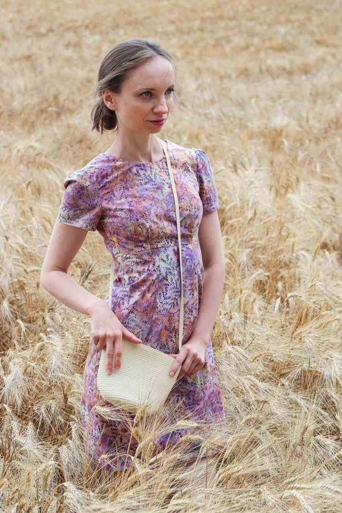 Lila Kleid selbstgenäht Schnittmuster Megan Dress
