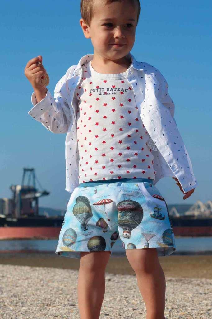 Outfit: kurze Hose selbstgenäht, weißes Hemd