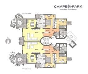 Modernes Bauen Wohnanlage mit Bros und Tiefgarage