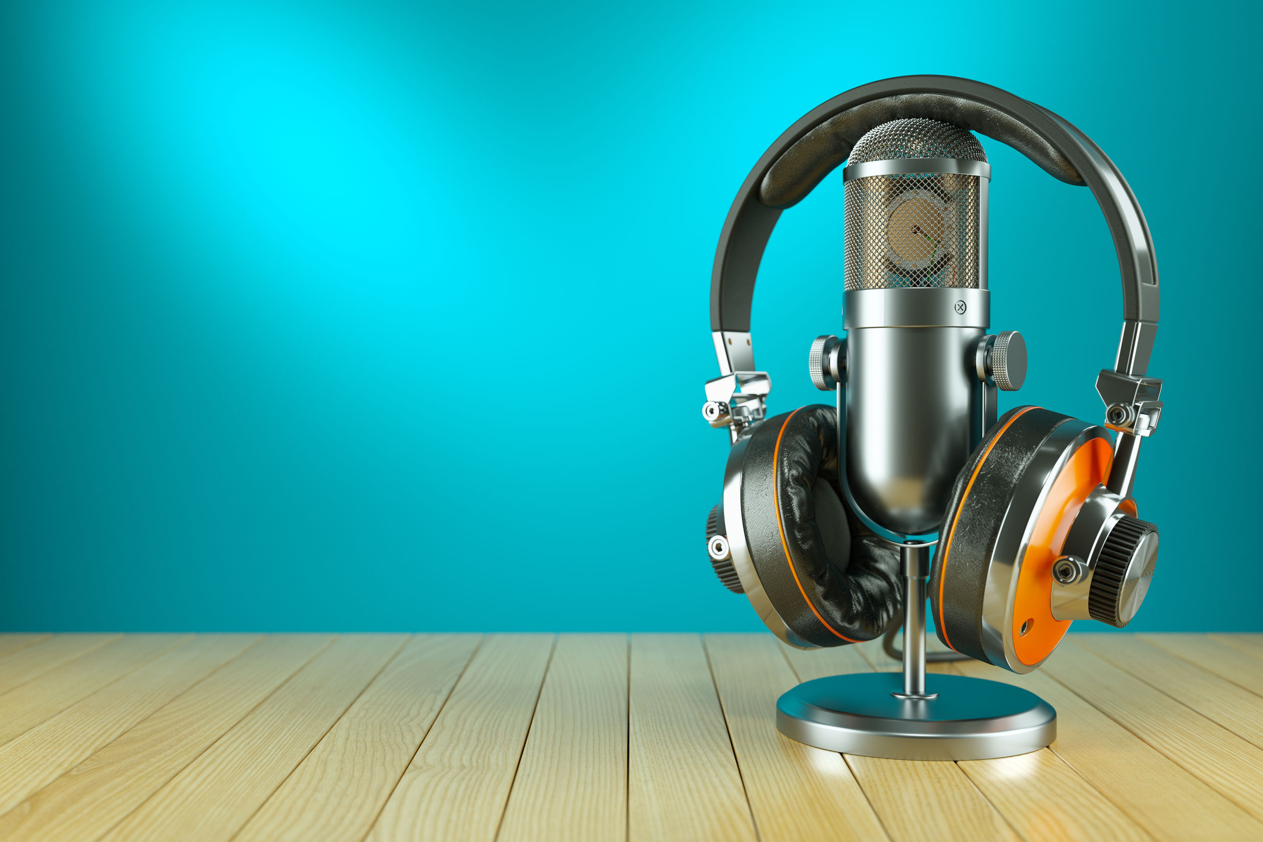 60174510 - professional studio microphone and headphones on wooden table 3d