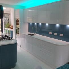 German Made Kitchen Cabinets Millwork Handleless White And Blue Bishops Stortford