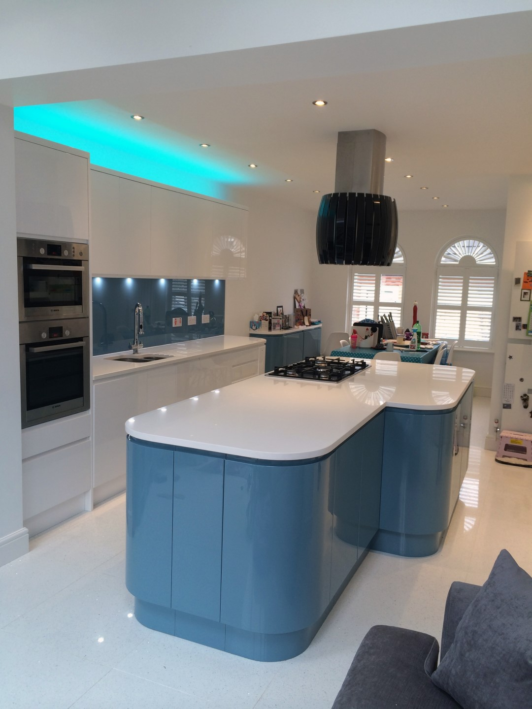 Handleless White  Blue German Kitchen  Bishops Stortford  Blax Kitchens Ltd