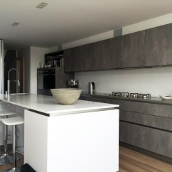 German Made Kitchen Cabinets Concrete Table And Polar White - Streatham Hill | Blax Kitchens Ltd