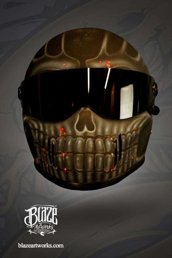 Customized Motorcycle Crash Helmet In Dark Skull Design