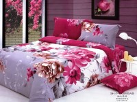 Large Japan Bedsheet with Fanta Red White Flower Motive
