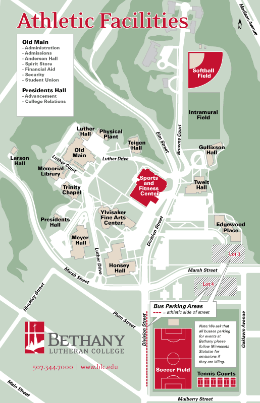 Athletic Facilities Map  Bethany Lutheran College
