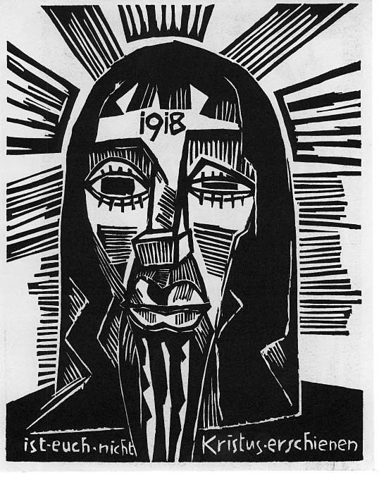 Kopf / Kristus (Wittek 121, Schapire 208). Original woodcut, 1918. Edition: 75 signed and numbered impressions on paper with larg margins published in the 1919 portfolio, Neun Holzschnitt / Nine Woodcuts.