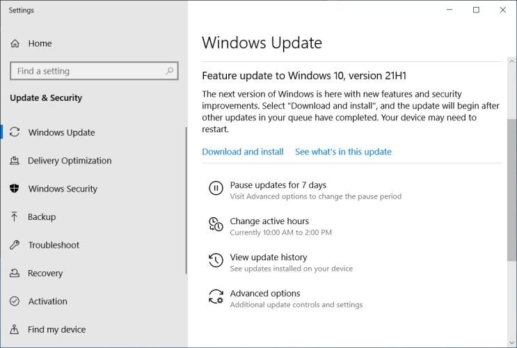 Windows 10 21H1 optional feature update