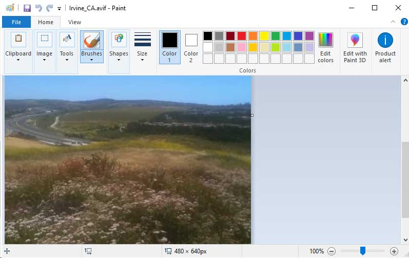 Microsoft Paint مع ملف AVIF مفتوح