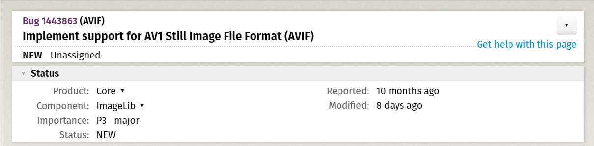 تقرير Mozilla Bug لإضافة دعم AVIF