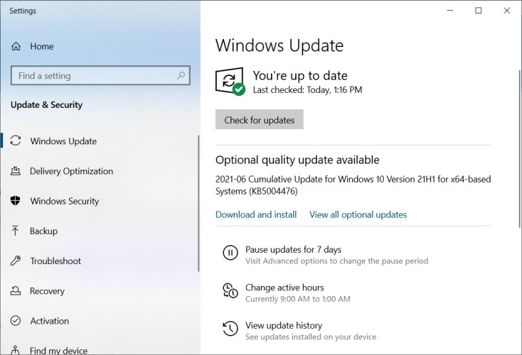 KB5003690 update offered in Windows Update