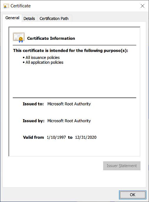 Expiring Microsoft Root Authority certificate
