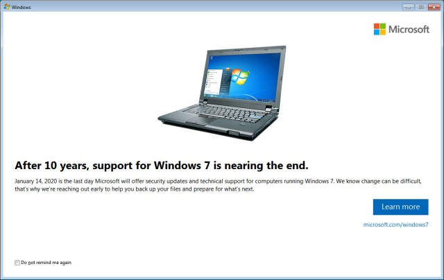 KB4493132 Update Notifies Windows 7 Users of End of Support