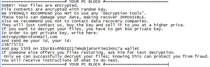 "aurora-ransom-note ""AZORult Trojan"" Serving ""Aurora Ransomware"" by MalActor Oktropys"