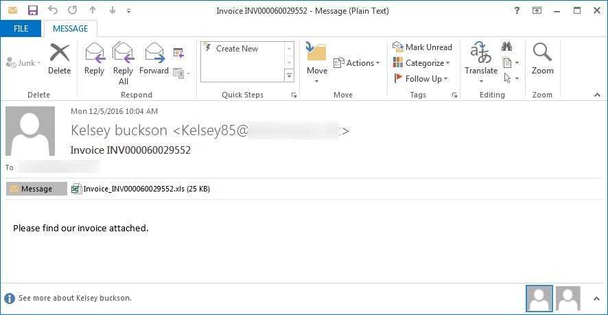 LockyOSIRIS Variant SPAM Email