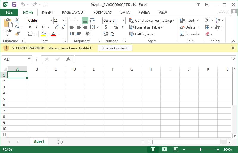 Excel Spreadsheet Distributing Locky