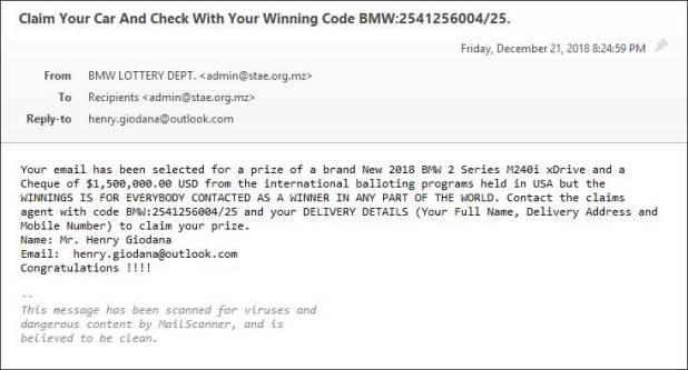 Correo electrónico falso de la lotería de BMW