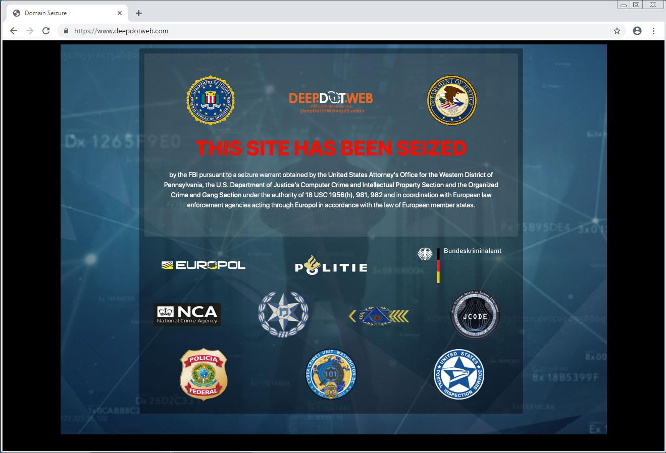 DeepDotWeb Seized by FBI