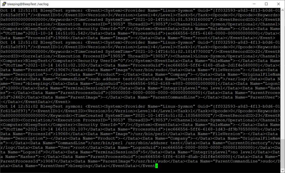Sysmon events logged in / var / log / syslog
