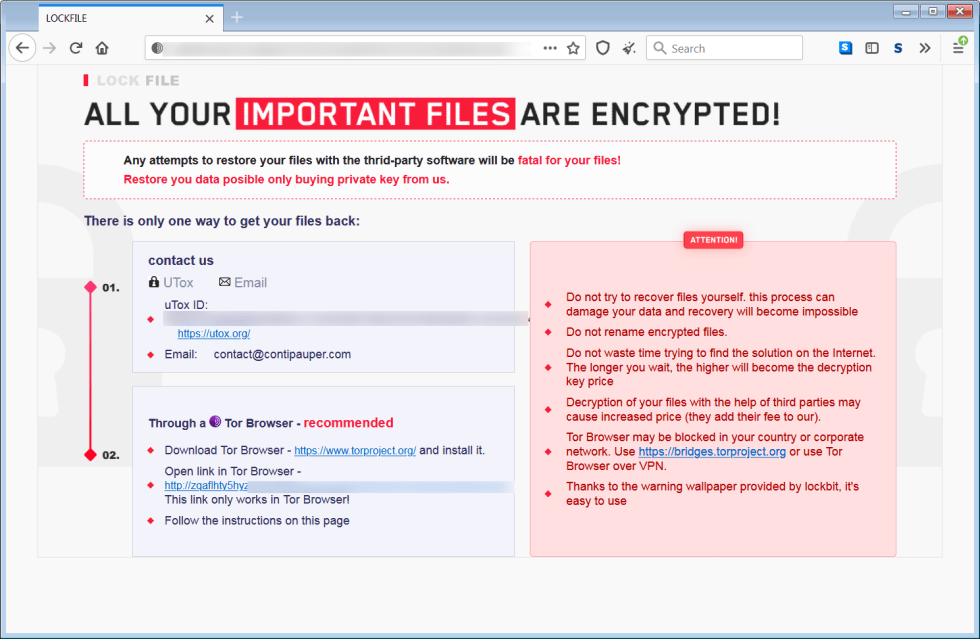Ransom note from LockFile ransomware