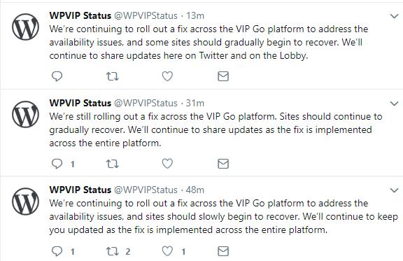 Atualizações de interrupção de status do WPVIP
