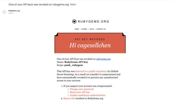 RubyGems email compromised secret