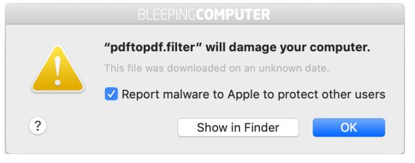 Apple macos x print warning